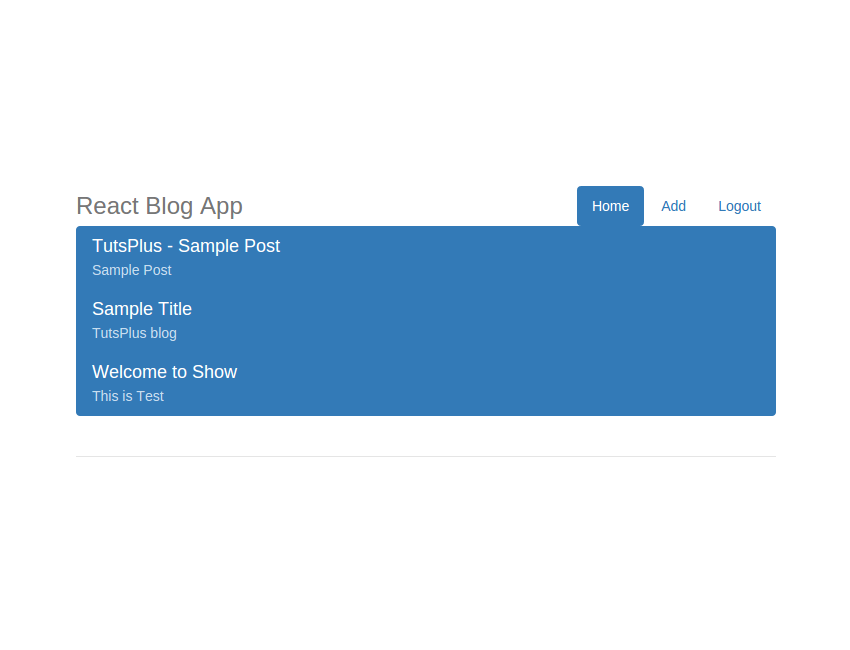 React Blog App - User Home Page