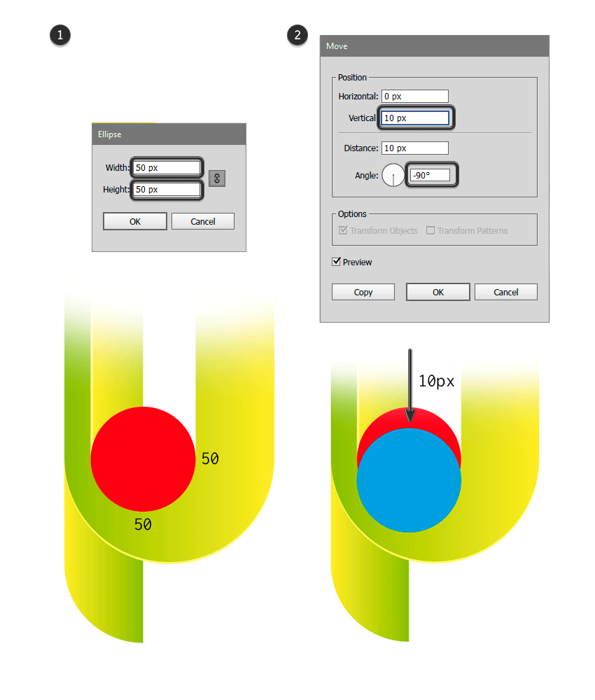 Tow ellipses of 50 x 50 px Duplicates one and move down 10 px in vertical position