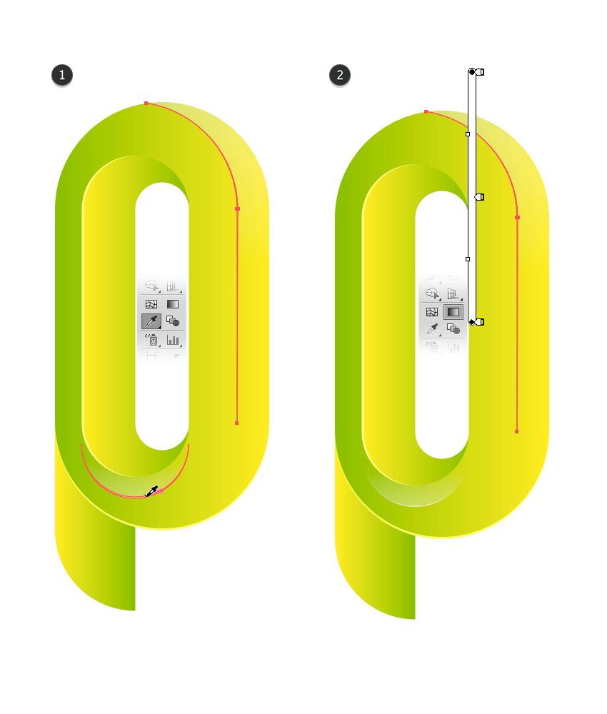 Apply a linear gradient with Eyedropper Tool on the bezel