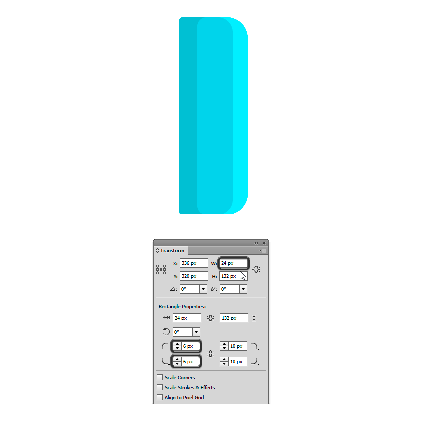 Duplicating the rectangle and changing its width