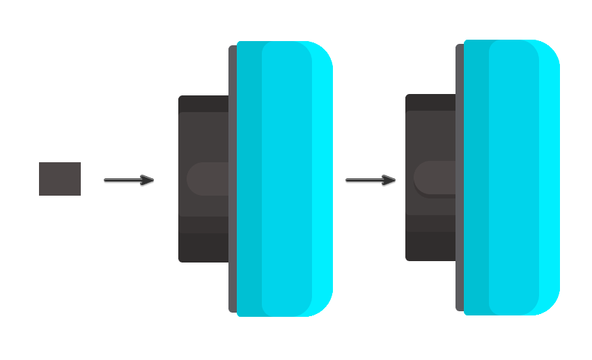 Adding the support for the speakers hinge with a 20 x 16 px rectangle
