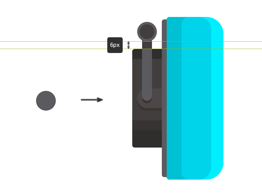 Adding a hinge with a 16 x 16 px ellipse and another of 12 x 12 px