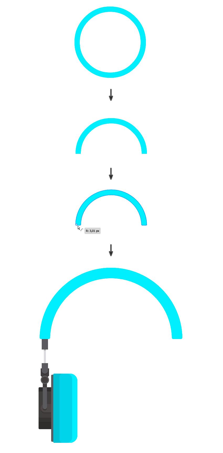 Adding a 252 x 252 px ellipse for the headphones headband