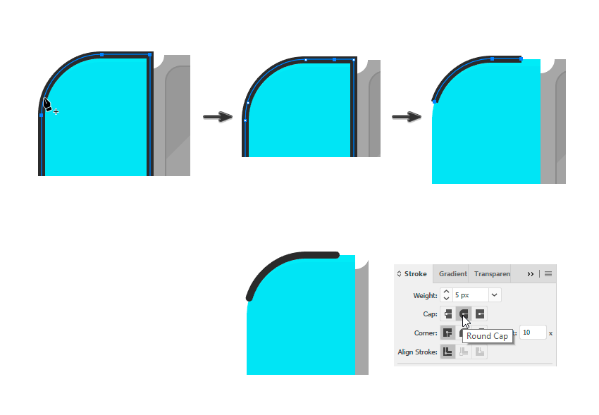 Using the Pen Tool for the new button
