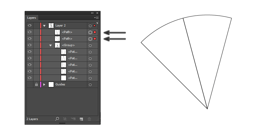 find the 2 topmost triangles and pull them out of the group layer stack