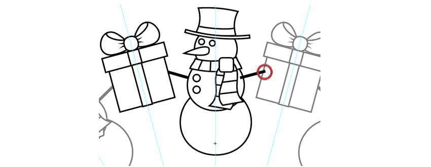 move the present into place beside the snowman