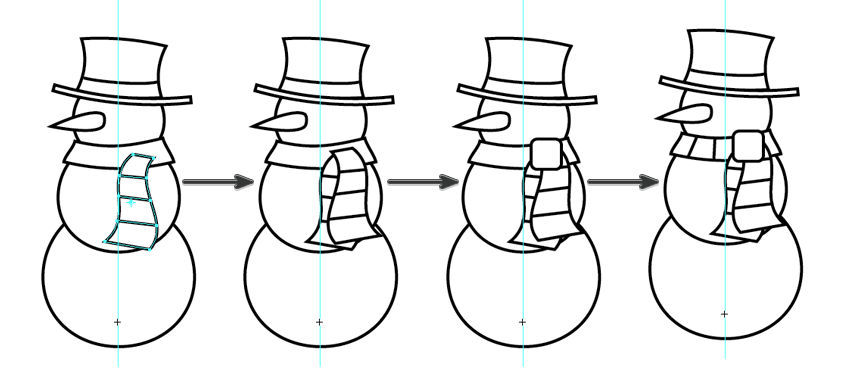 finish off the snowmans scarf by adding a knot and stripes