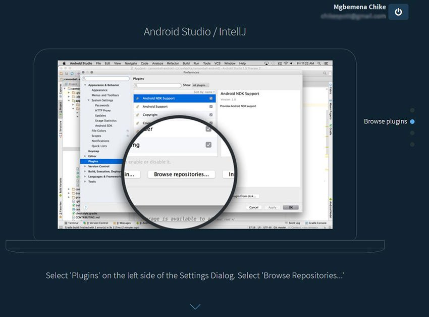 Android Studio browse plugins