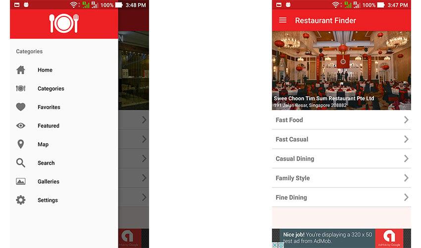 Restaurant Finder app template