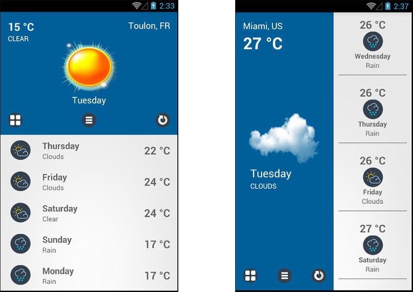 Weather Pro app template screenshots