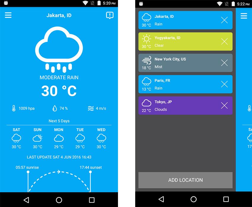Simple Weather 50 template screenshots