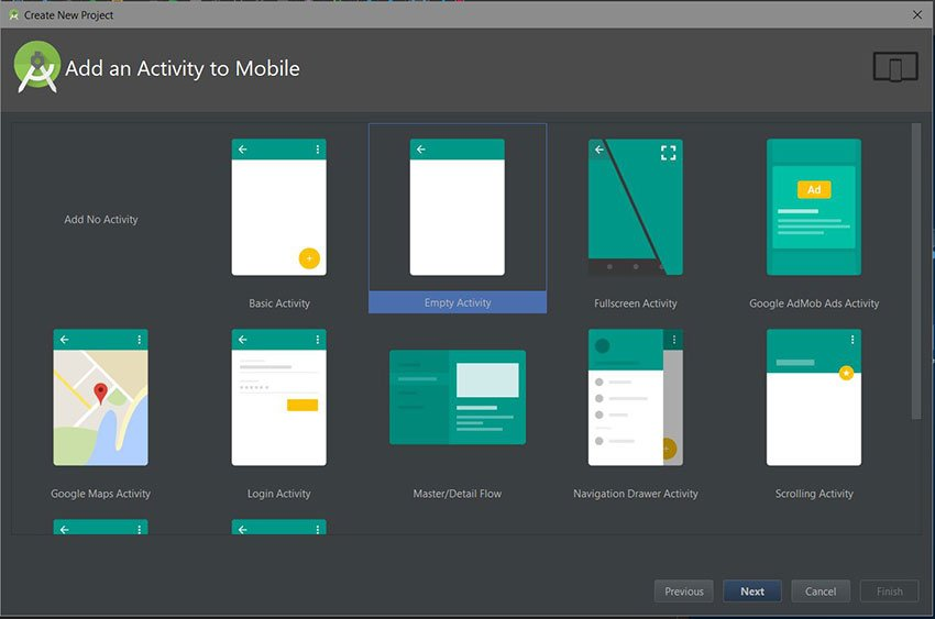 Android Studio create new project