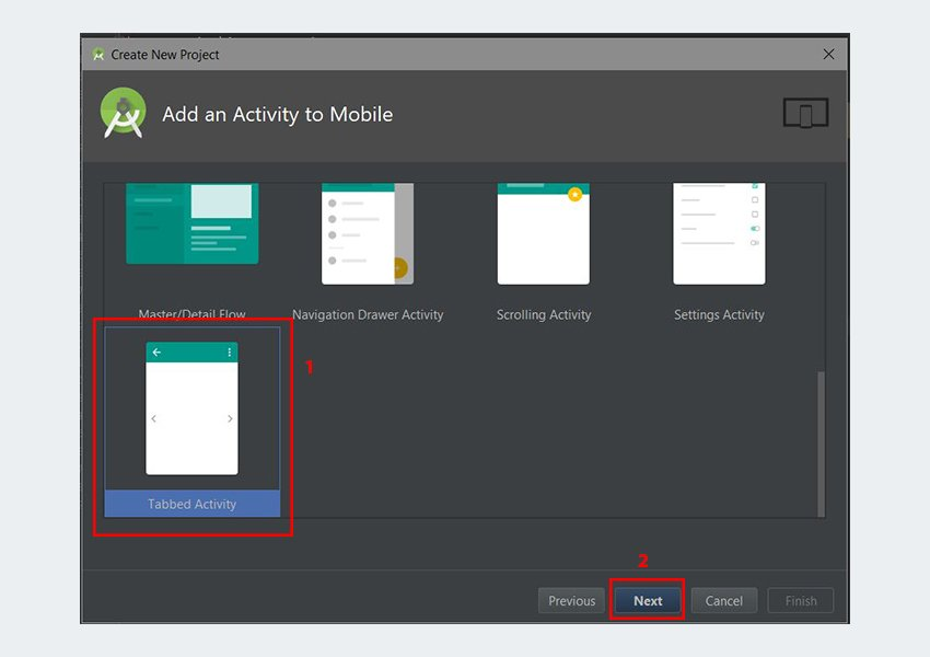 Add an Activity to Mobile dialog