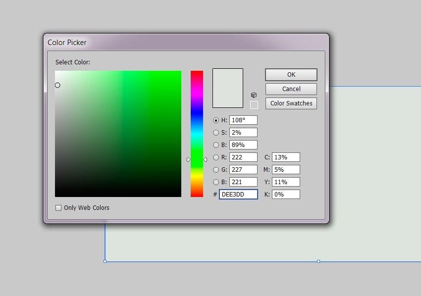 Color the rectangle with DEE3DD