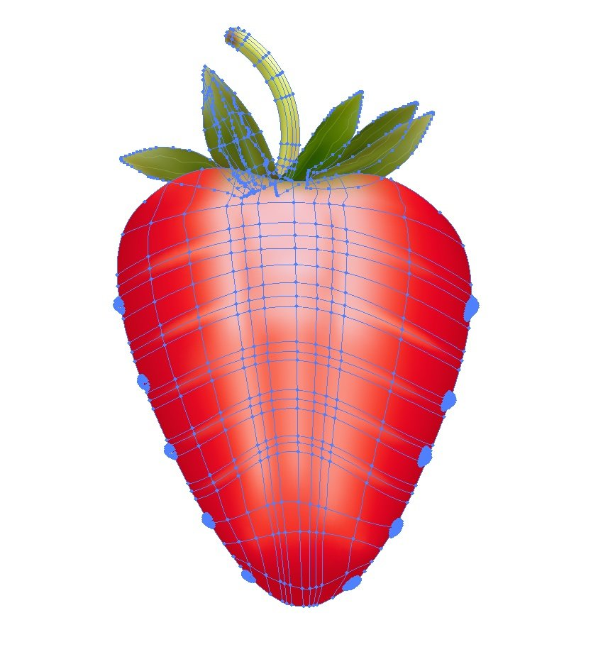 add leaves to the half strawberry