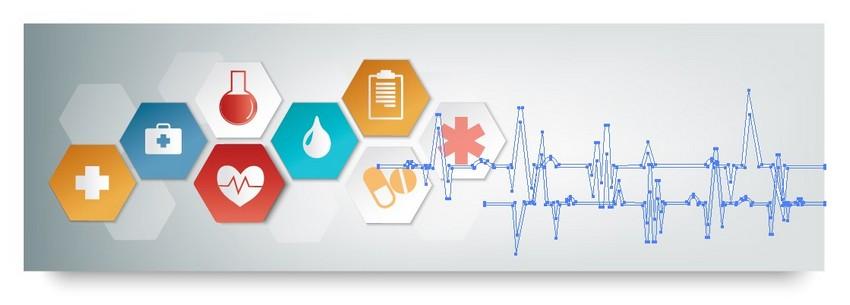 medical banner vector waveform heartbeat