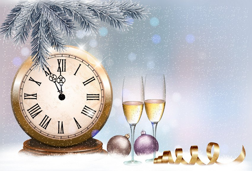 holiday retro background with champagne glasses