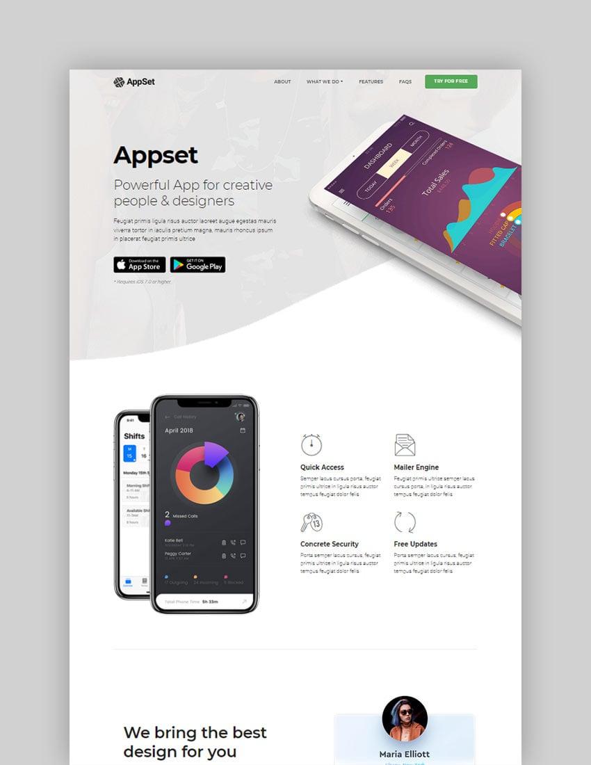 Appset App landing WordPress Theme