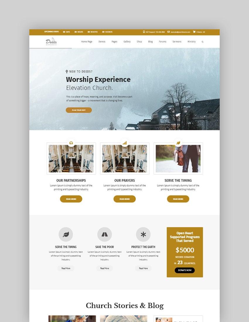 Deeds Best Responsive Nonprofit Church WordPress Theme
