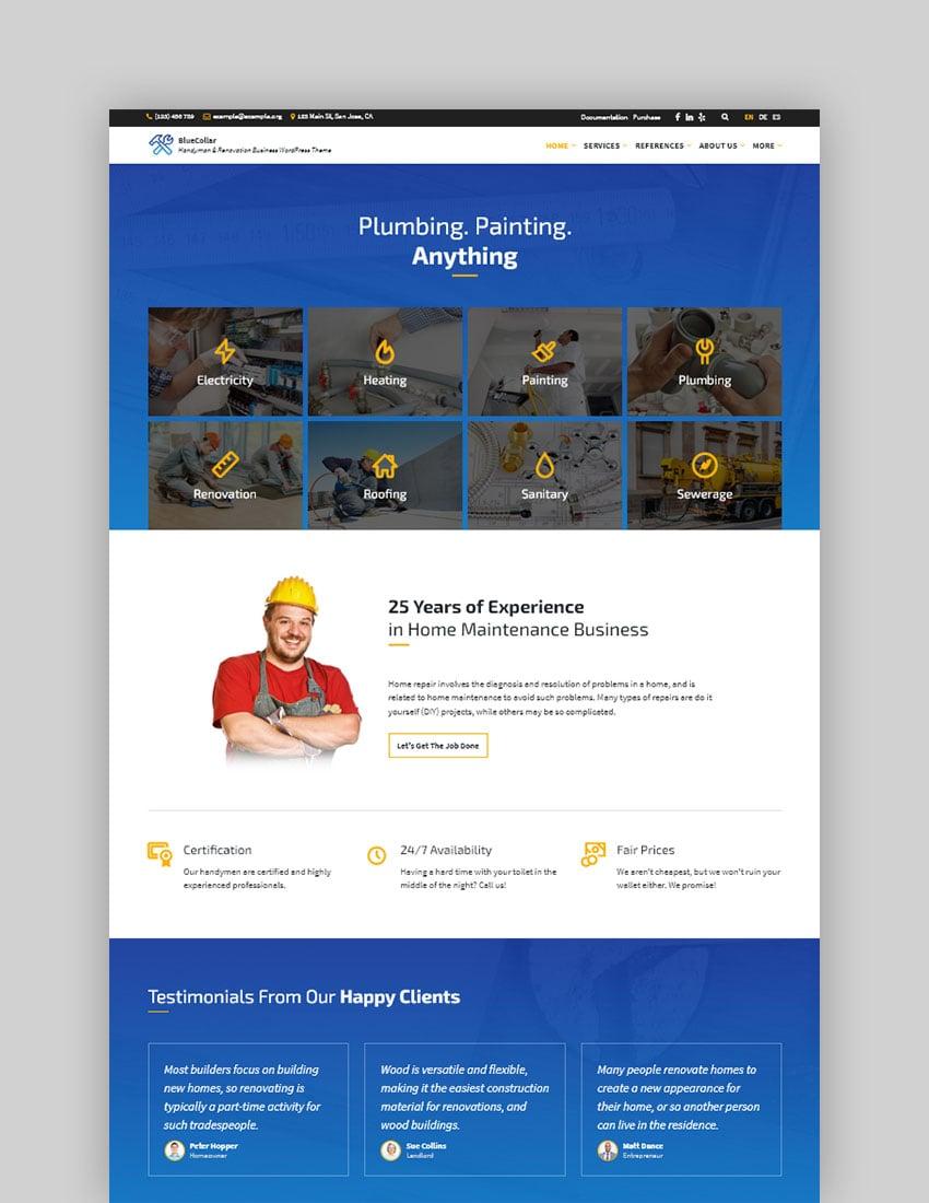 BlueCollar - Tema de WordPress para profesionales de mantenimiento y empresa de reformas