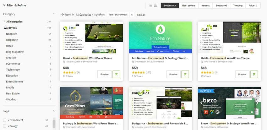 Eco-Friendly WordPress Themes on ThemeForest