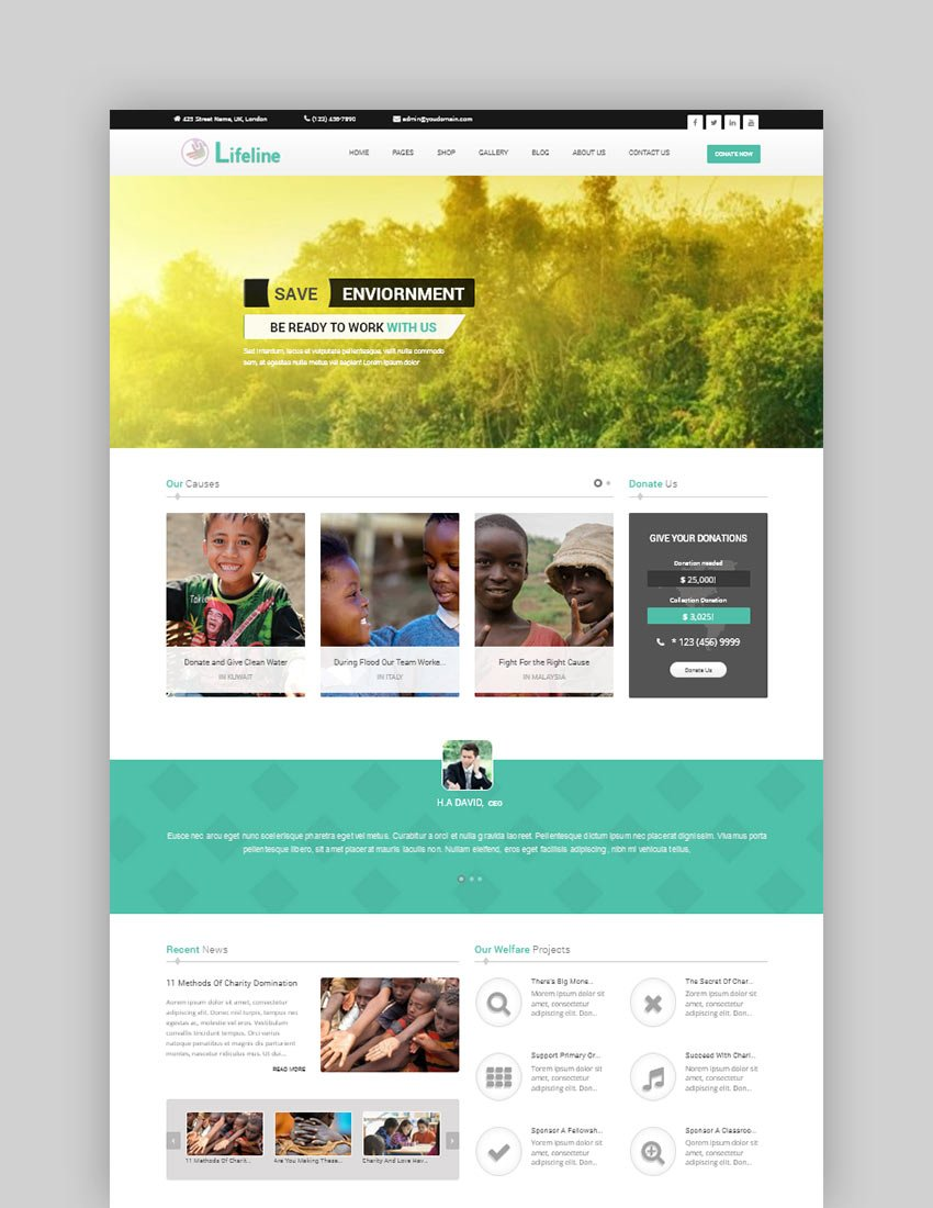 Lifeline - NGO Fund Raising and Charity WordPress Theme
