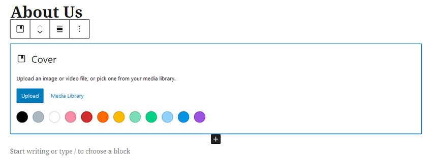 WordPress Gutenberg Cover Block background settings