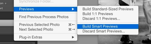 Lightroom Build Smart Previews dialog