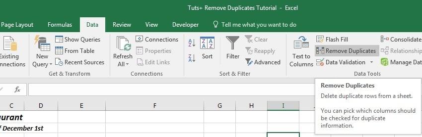 Excel Remove Duplicates Feature