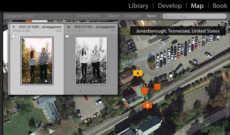 Lightroom Map module screenshot showing image placement on the map