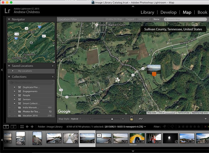 Screenshot showing manual placement of image onto a Lightroom map