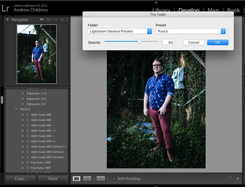 Lightroom The Fader in Action