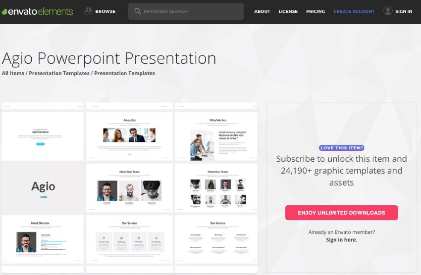 Envato Elements Unlimited Use PowerPoint presentation templates