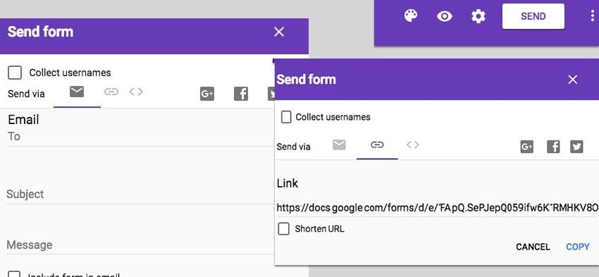 Send Google Sheets form