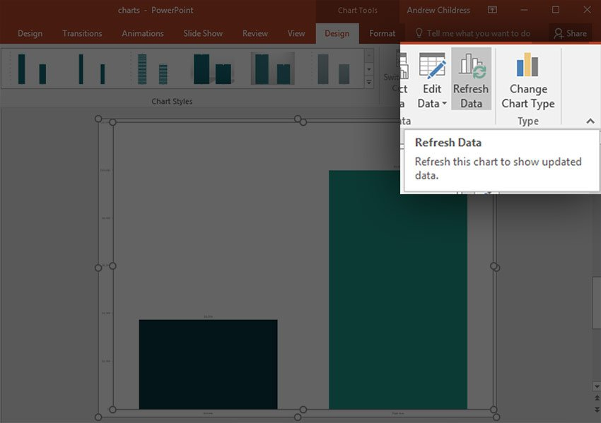 Refresh Excel Data while in PowerPoint