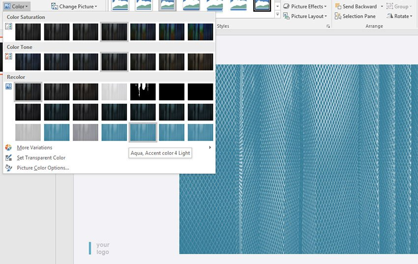 Image color adjustments in PowerPoint
