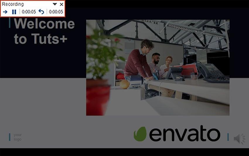 Recording slide in PowerPoint video