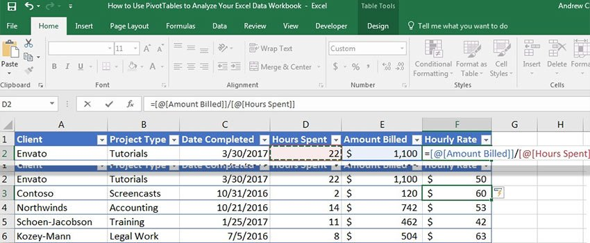 Formula in Excel table