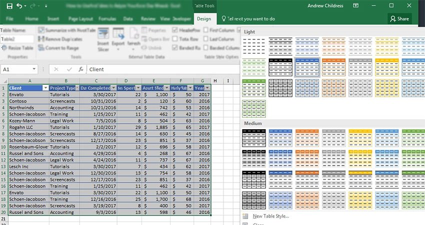 How to Use Table Styles in Excel