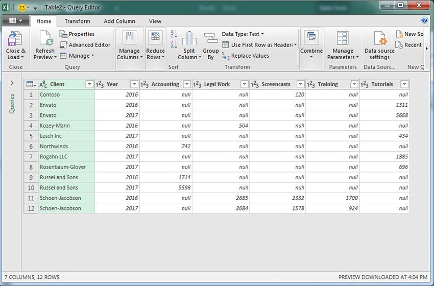 Power Query Window in Microsoft Excel