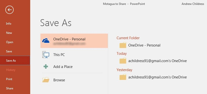 Save As to OneDrive