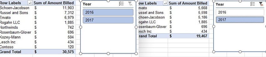 Excel Slicer Example