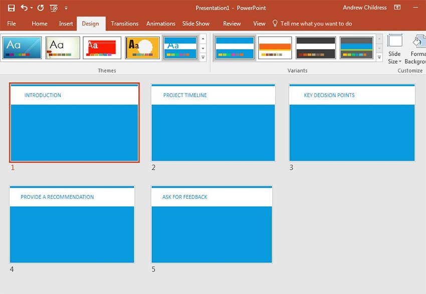 PowerPoint Themes Design tab