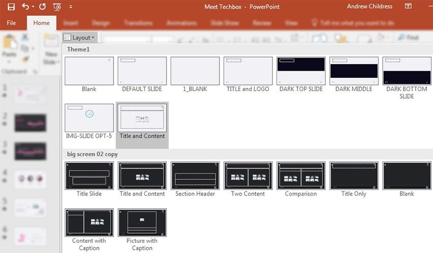 PowerPoint layouts