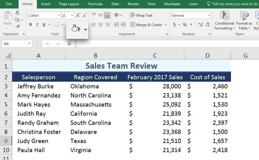 Excel cell shading example