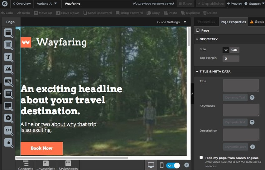Unbounce landing page tool example