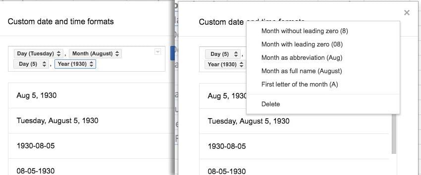 Custom formats for date