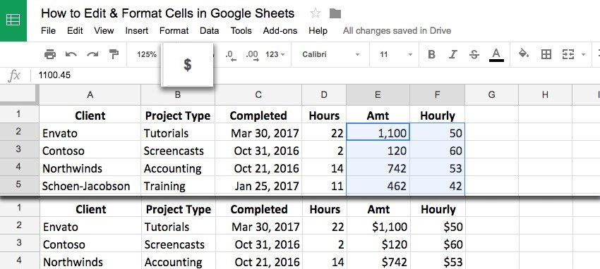 Cell format Google Sheets with the currency symbols