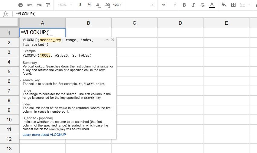 VLOOKUP Example in Google Sheets