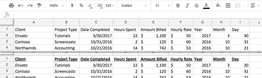Styled spreadsheet